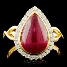 Genuine Ruby Ring Sterling Silver & Diamonds 4.75 CTW Gemstones
