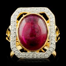 Genuine Ruby Ring Sterling Silver & Diamonds 7.42 CTW Gemstones