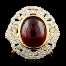 Genuine Ruby Ring Sterling Silver & Diamonds 7.04 CTW Gemstones
