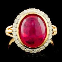Genuine Ruby Ring Sterling Silver & Diamonds 4.88 CTW Gemstones