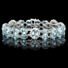 `14k Gold 38.00ct Aquamarine & 2.00ct Diamond Brac