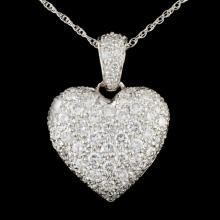 14K White Gold 3.48ctw Diamond Pendant