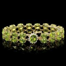 `14k Gold 43.00ct Peridot & 0.60ct Diamond Bracele