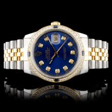 Rolex DateJust 36MM 18K & SS Blue Roman 1.50ct Dia