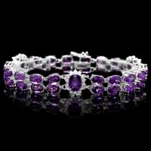 `14k Gold 33.50ct Amethyst & 1.50ct Diamond Bracel
