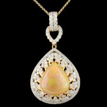 18K Gold 7.47ct Opal & 1.90ctw Diamond Pendant