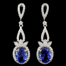 18K Gold 7.20ctw Tanzanite & 1.56ctw Diamond Earri