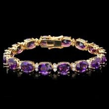 `14k Gold 30.00ct Amethyst & 1.35ct Diamond Bracel