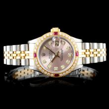 Rolex DateJust 18K/SS 1.00ct Diamond Ladies Watch