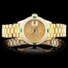 Rolex 18K YG DateJust 1.00ct Diamond Ladies Watch