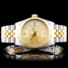 Rolex YG/SS DateJust 36mm Tapestry Wristwatch