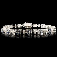 14K Gold 3.93ct Sapphire & 0.24ctw Diamond Bracele