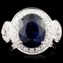 14K Gold 5.14ct Sapphire & 0.73ctw Diamond Ring