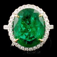14K Gold 7.80ct Emerald & 0.44ctw Diamond Ring