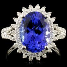 18K Gold 4.43ct Tanzanite & 0.59ctw Diamond Ring