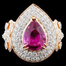 18K Gold 3.03ct Sapphire & 1.65ct Diamond Ring