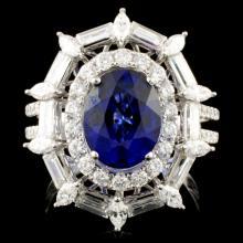18K Gold 3.19ct Sapphire & 1.91ctw Diamond Ring