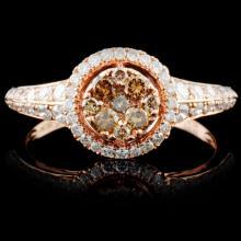 14K Rose Gold 0.74ctw Fancy Color Diamond Ring