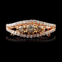 14K Rose Gold 0.79ctw Fancy Color Diamond Ring