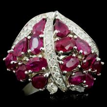 14K Gold 6.00ct Ruby & 0.70ctw Diamond Ring