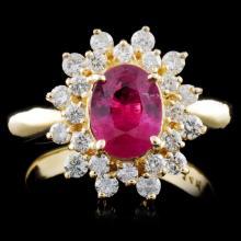 14K Gold 1.25ct Sapphire & 0.68ctw Diamond Ring