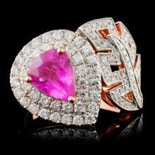 18K Rose Gold 1.93ct Sapphire & 0.98ct Diamond Rin