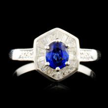 18K Gold 0.61ct Sapphire & 0.28ctw Diamond Ring