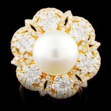 18K Gold 11.50MM Pearl & 2.18ctw Diamond Ring
