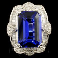 18K Gold 11.10ct Tanzanite & 1.54ctw Diamond Ring