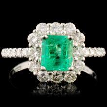 18K Gold 0.94ct Emerald & 0.71ctw Diamond Ring