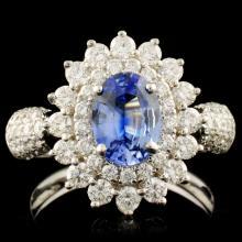 18K Gold 0.99ct Sapphire & 1.04ctw Diamond Ring
