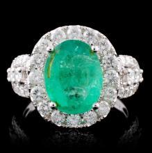 18K Gold 2.85ct Emerald & 1.49ct Diamond Ring