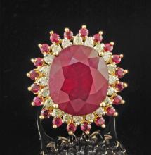 14K YGold 14.47ctw Ruby & Diamond Ring