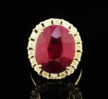 14K Yellow Gold 20.52ctw Ruby & Diamond Ring