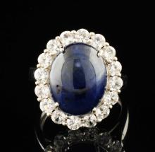 Blue & White Sapphire 9.07ctw Sterling Silver Ring