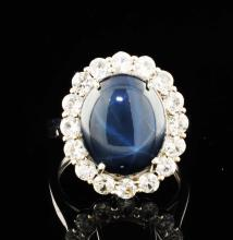 Deep Blue & White Sapphires 9.78 ctw Sterling Silver Ring