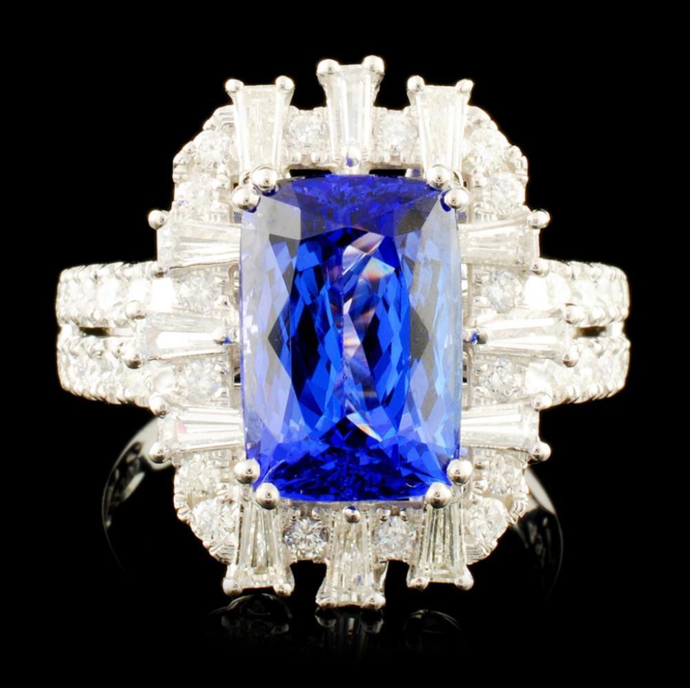 18K Gold 4.37ct Tanzanite & 1.03ctw Diamond Ring