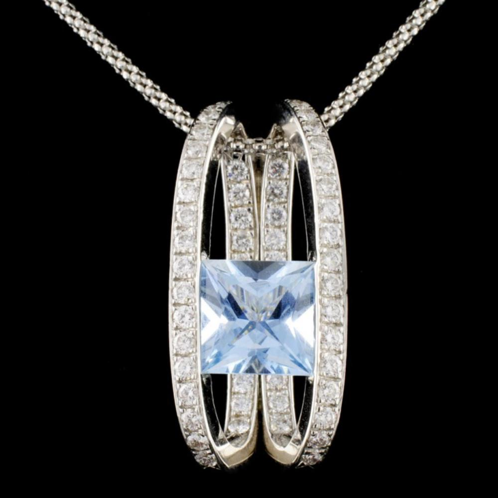 14K White Gold 3.50ct Aquamarine & 1.00ct Diamond