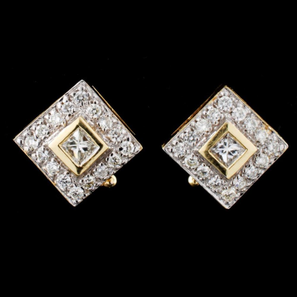 14K Yellow Gold 0.80ctw Diamond Earrings
