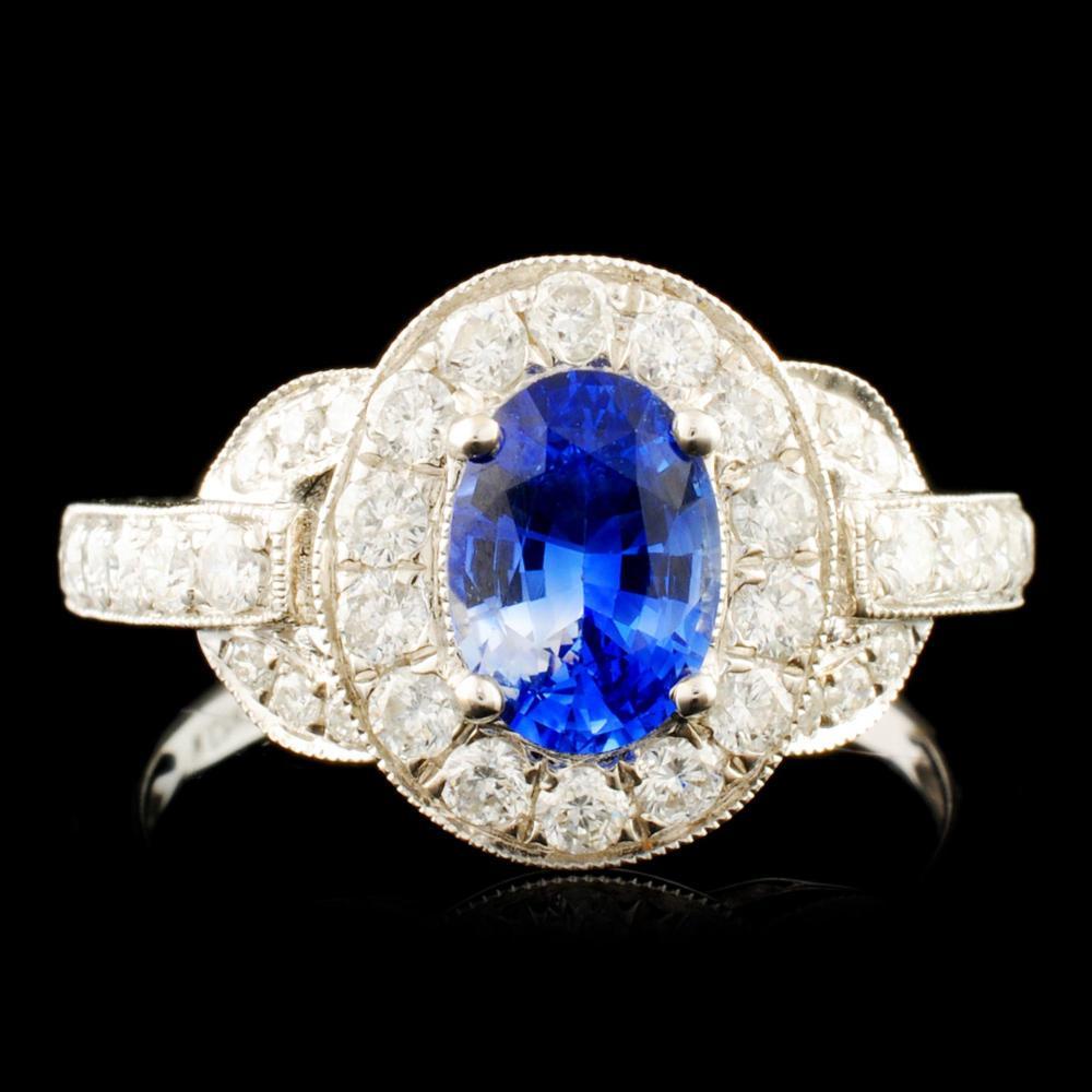 18K Gold 0.95ct Sapphire & 0.67ctw Diamond Ring