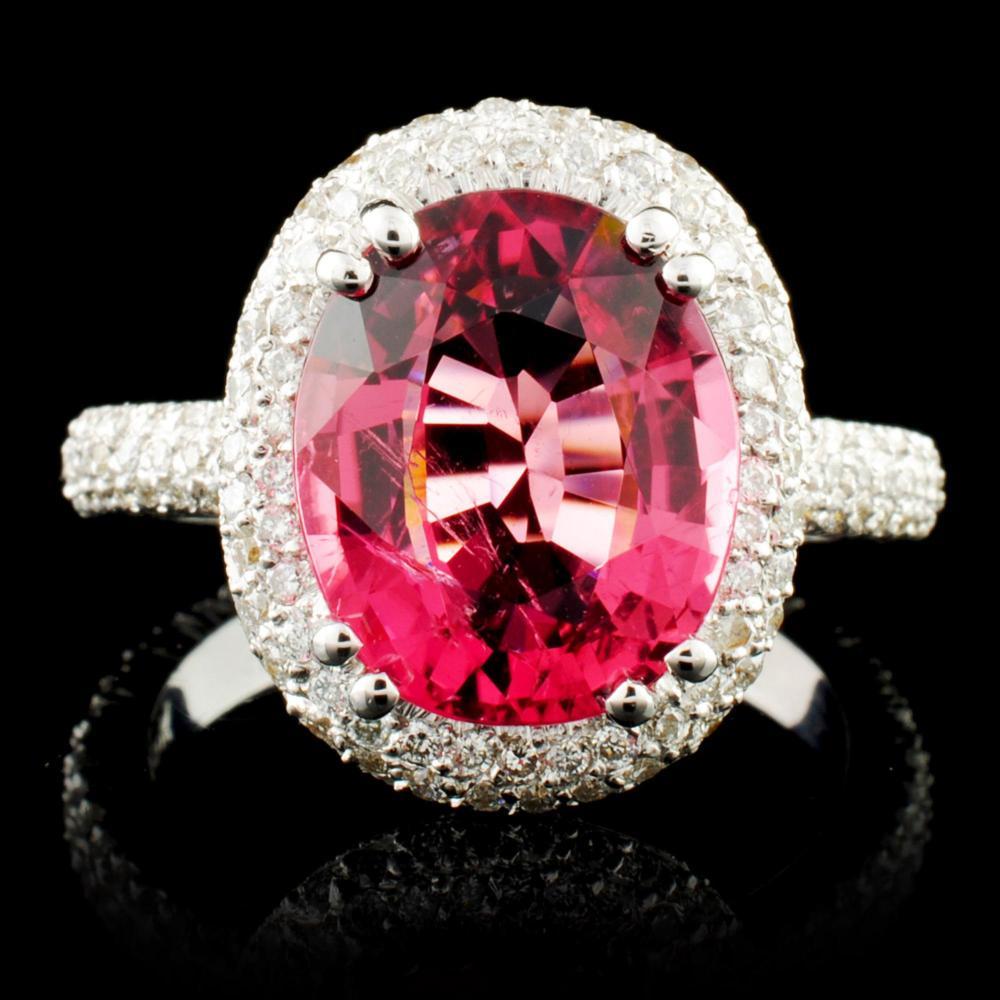 18K Gold 4.19ct Tourmaline & 1.32ctw Diamond Ring