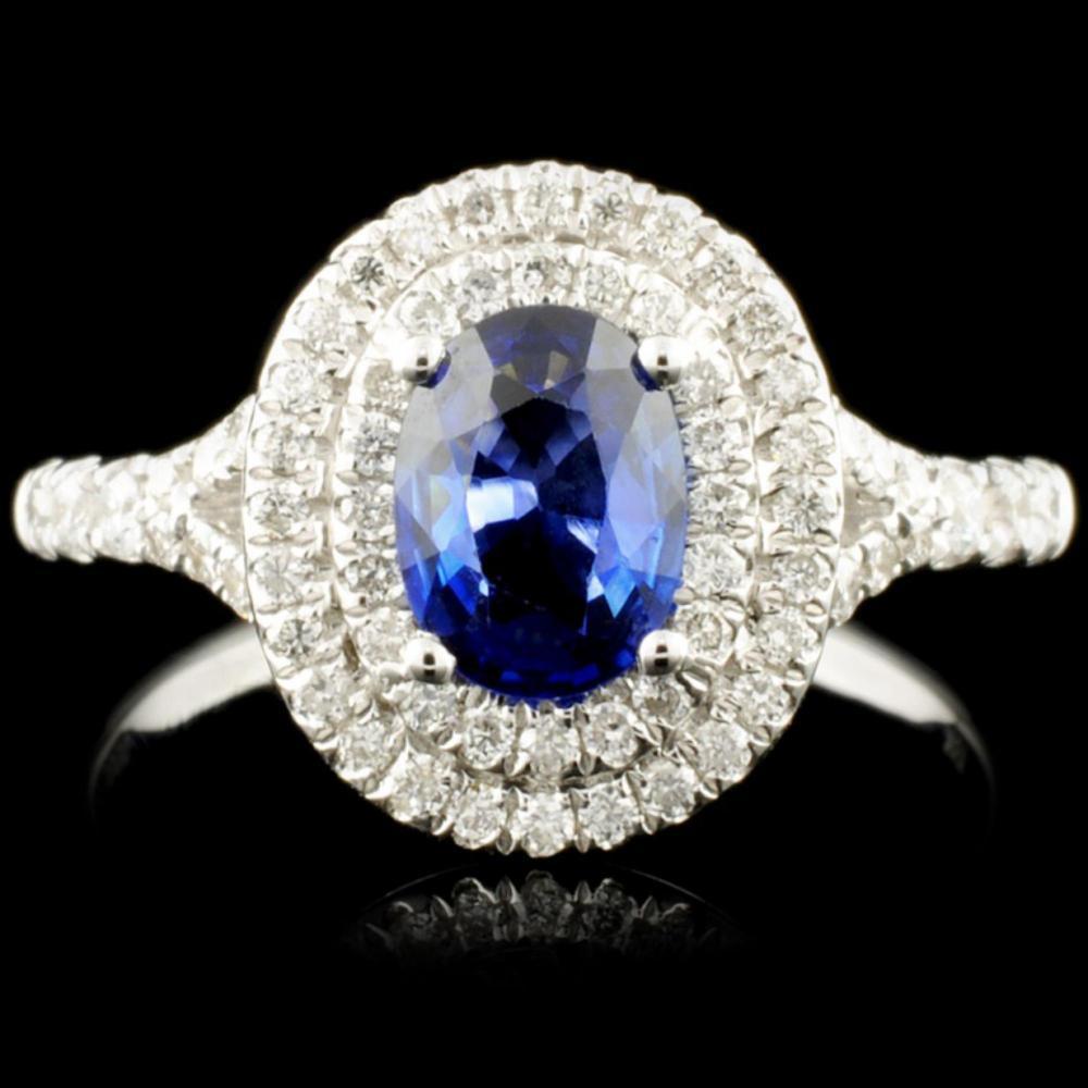 18K Gold 0.80ct Sapphire & 0.48ctw Diamond Ring