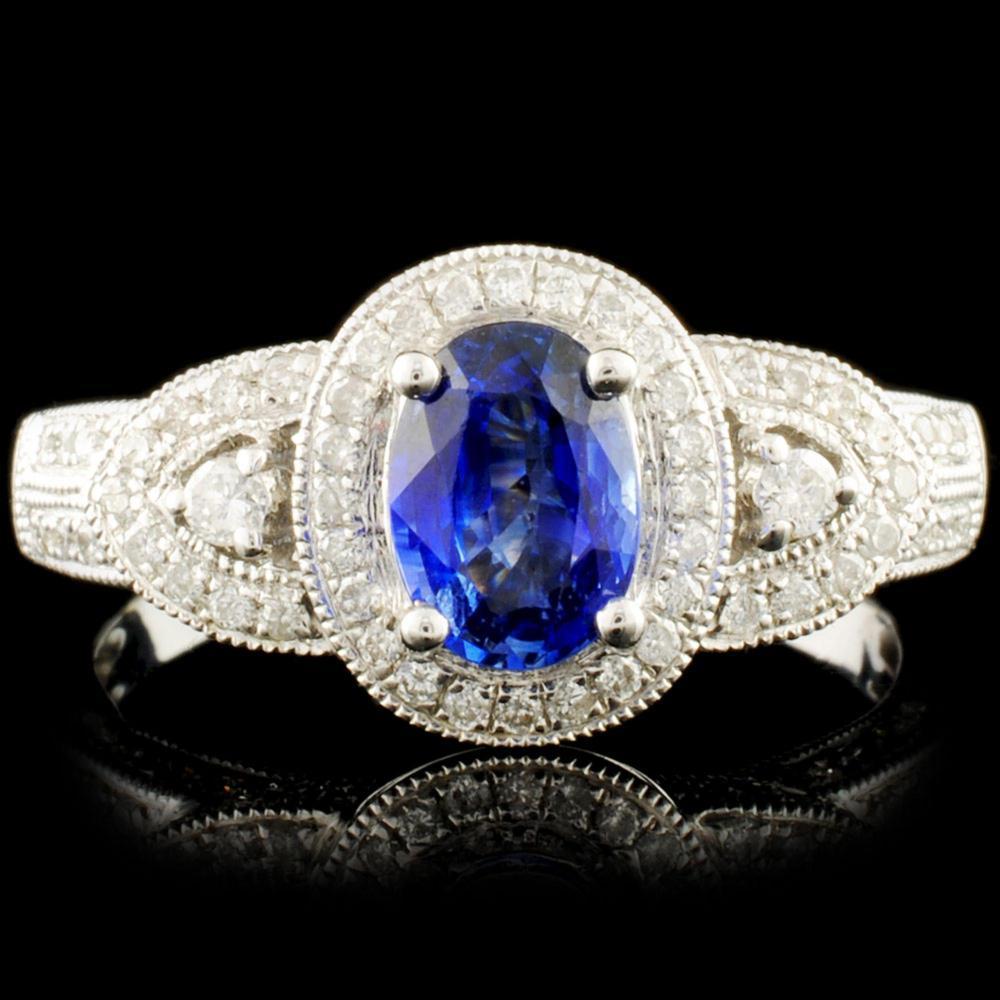 18K Gold 0.93ct Sapphire & 0.48ctw Diamond Ring