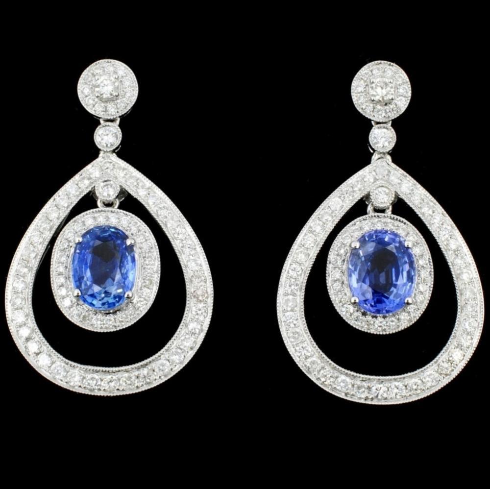 18K Gold 4.21ct Sapphire & 1.53ct Diamond Earrings