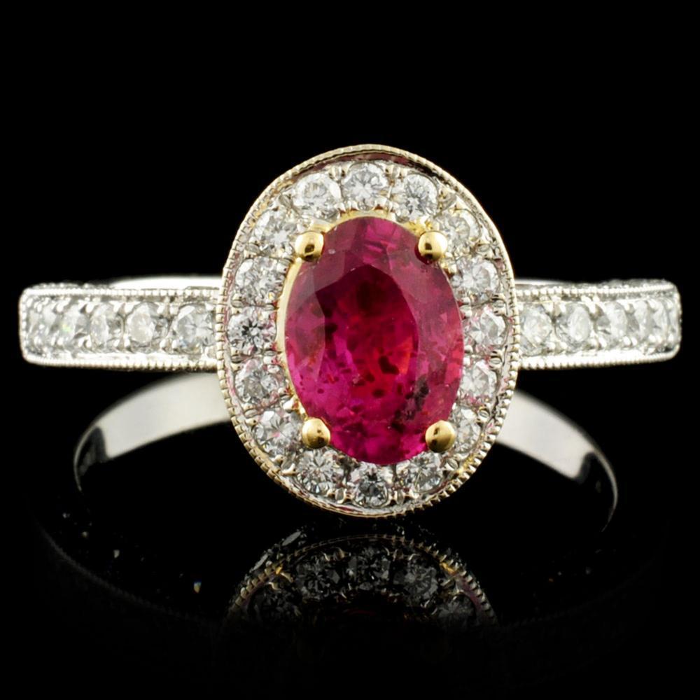 18K Gold 1.08ct Ruby & 0.79ctw Diamond Ring