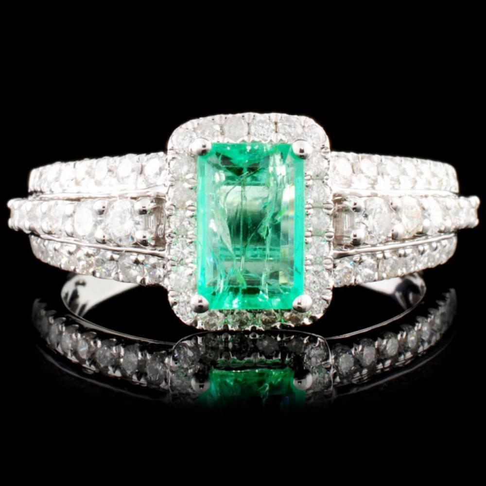 18K Gold 0.88ct Emerald & 0.63ctw Diamond Ring