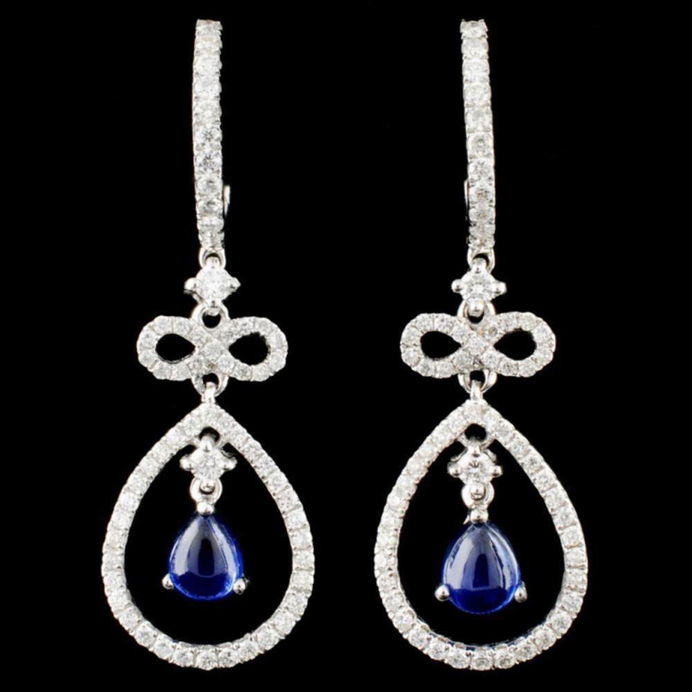 18K Gold 1.15ct Sapphire & 0.74ctw Diamond Earring