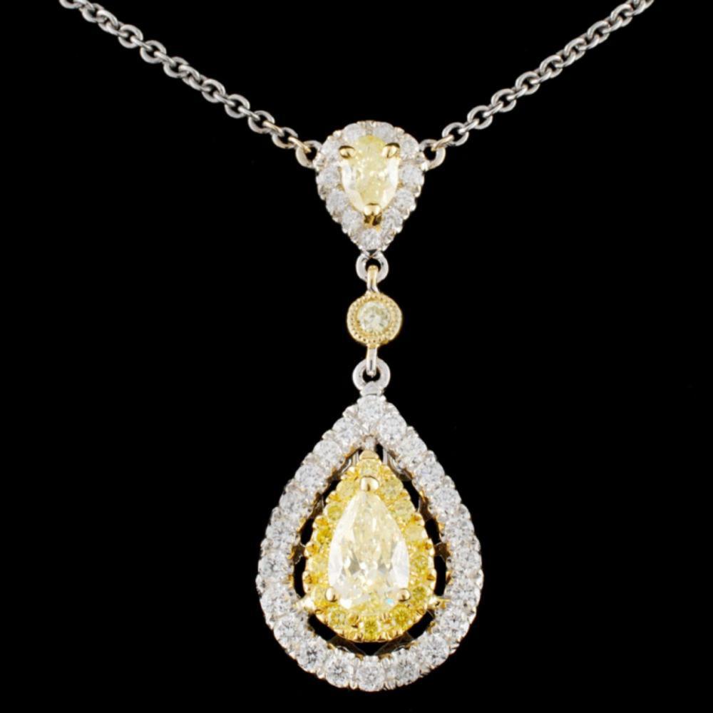 18K Gold 1.40ctw Fancy Diamond Necklace