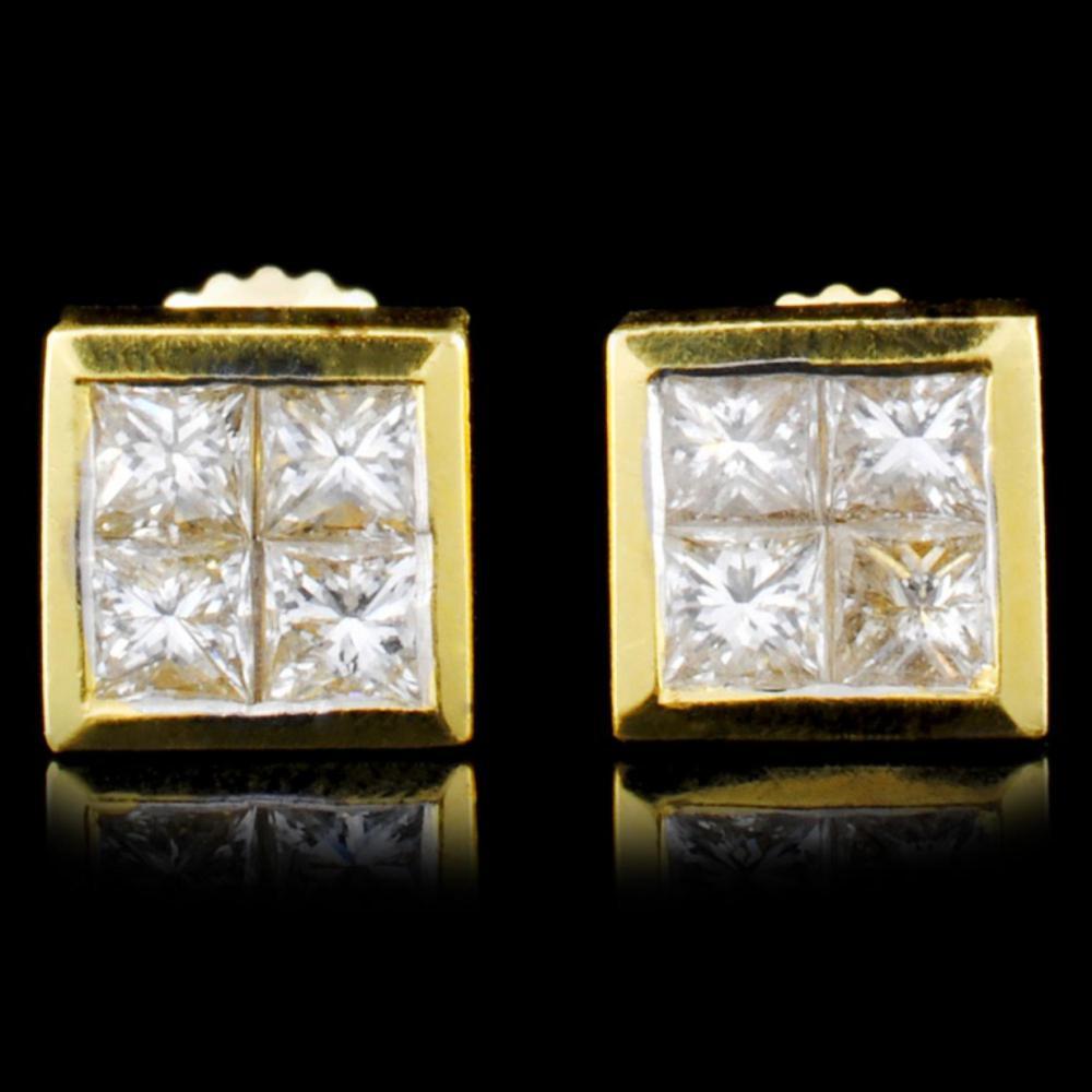 18K Gold 1.12ctw Diamond Earrings