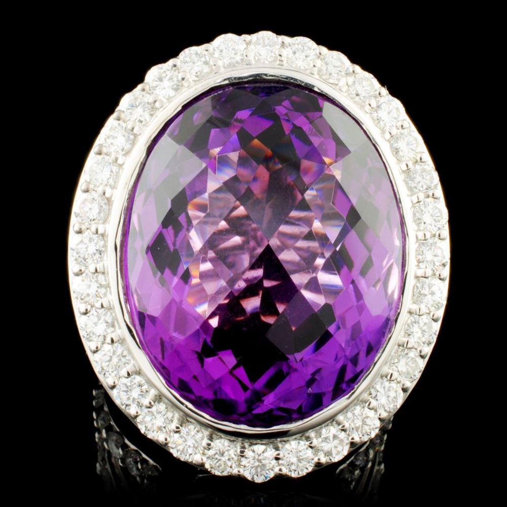 18K Gold 34.00ctw Amethyst & 4.08ctw Diamond Ring